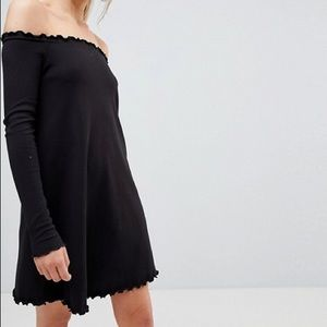 ASOS Tall Babylock Rib Off Shoulder Mini Dress